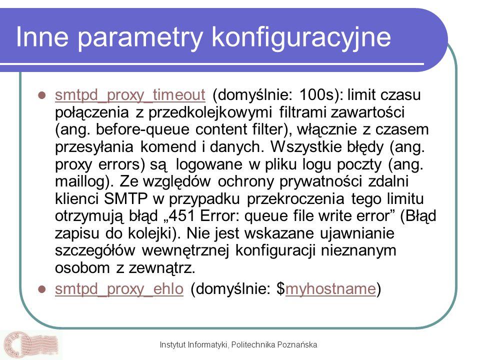 Inne parametry konfiguracyjne