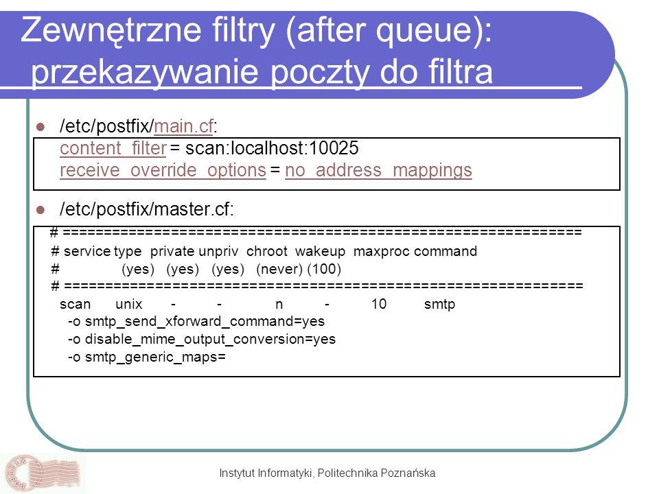 Zewnętrzne filtry (after queue): przekazywanie poczty do filtra