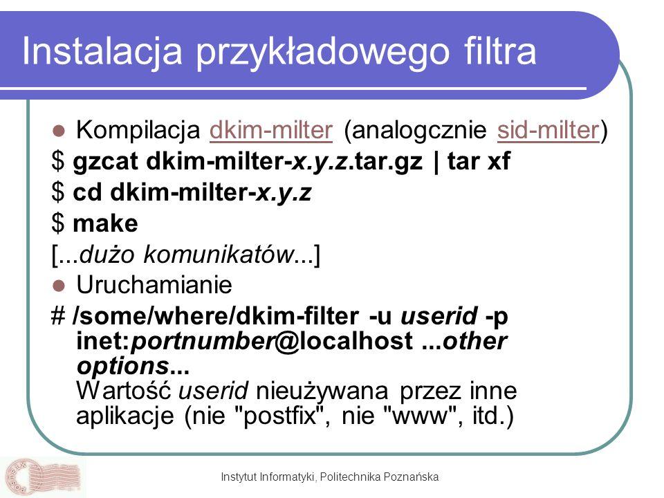 Instalacja przykładowego filtra