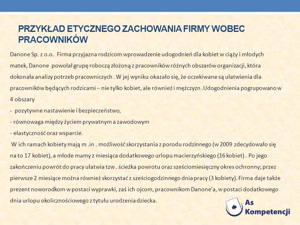 Przykład etycznego zachowania firmy wobec pracownikÓw