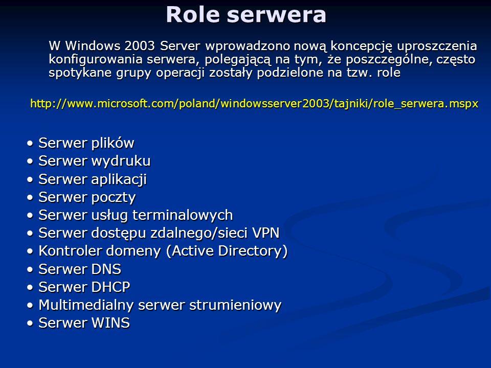Role serwera • Serwer plików • Serwer wydruku • Serwer aplikacji