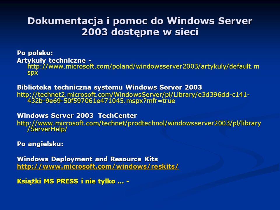 Dokumentacja i pomoc do Windows Server 2003 dostępne w sieci