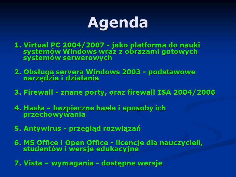 Agenda 1. Virtual PC 2004/2007 - jako platforma do nauki systemów Windows wraz z obrazami gotowych systemów serwerowych.