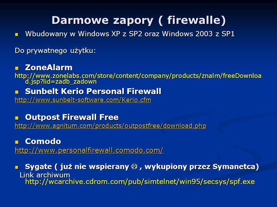 Darmowe zapory ( firewalle)