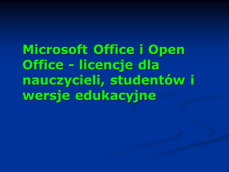 Microsoft Office i Open Office - licencje dla nauczycieli, studentów i wersje edukacyjne