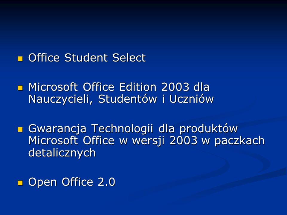 Office Student Select Microsoft Office Edition 2003 dla Nauczycieli, Studentów i Uczniów.