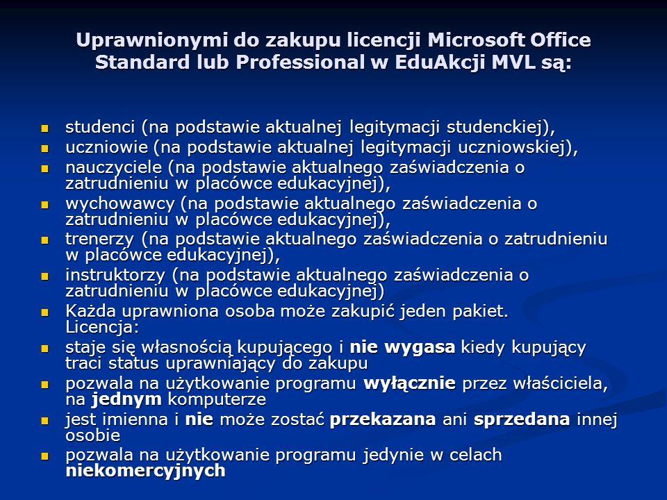 Uprawnionymi do zakupu licencji Microsoft Office Standard lub Professional w EduAkcji MVL są: