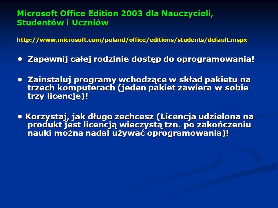 Microsoft Office Edition 2003 dla Nauczycieli, Studentów i Uczniów http://www.microsoft.com/poland/office/editions/students/default.mspx