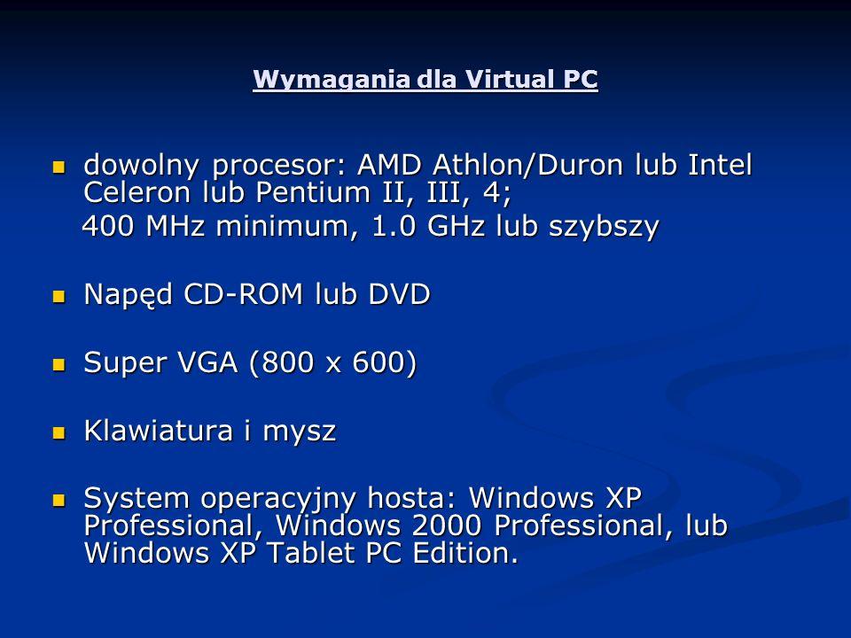 Wymagania dla Virtual PC