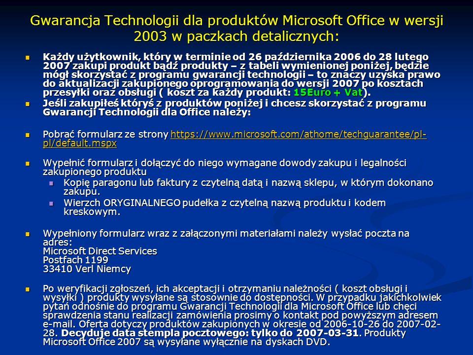 Gwarancja Technologii dla produktów Microsoft Office w wersji 2003 w paczkach detalicznych:
