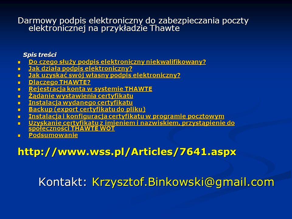Kontakt: Krzysztof.Binkowski@gmail.com