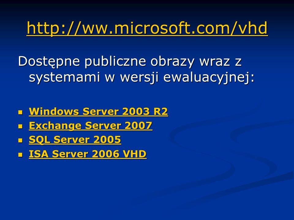 http://ww.microsoft.com/vhd Dostępne publiczne obrazy wraz z systemami w wersji ewaluacyjnej: Windows Server 2003 R2.