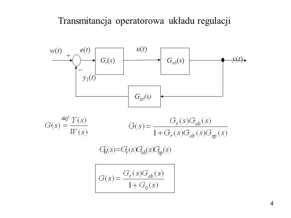 Transmitancja operatorowa układu regulacji