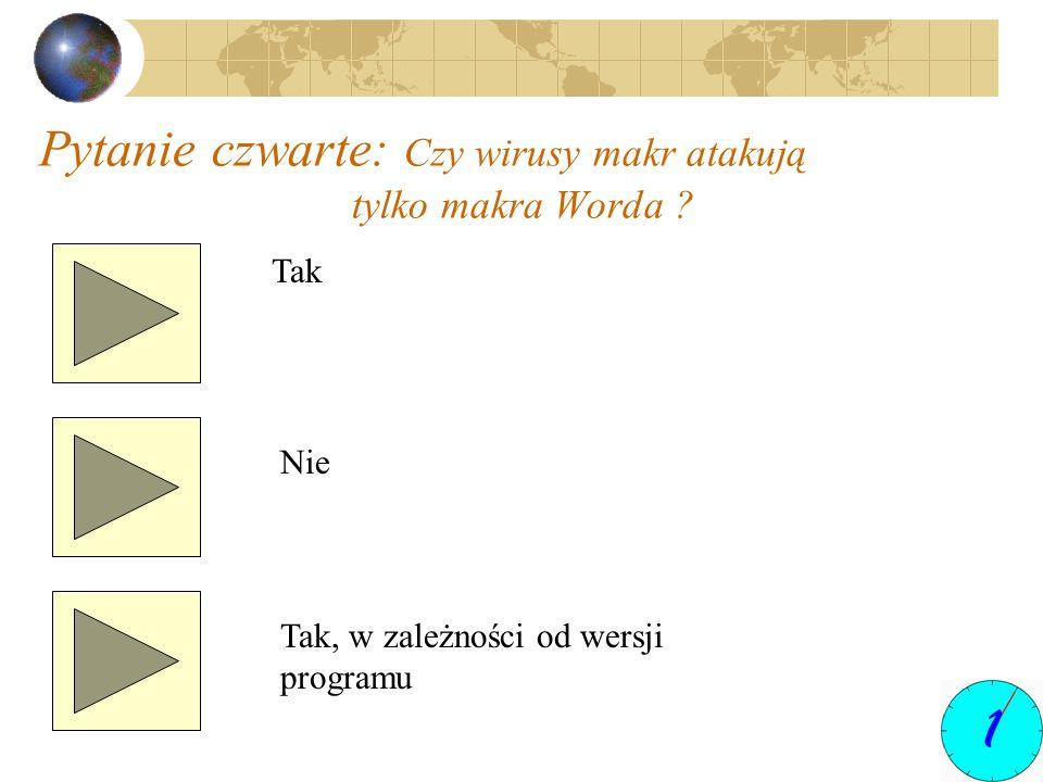 Pytanie czwarte: Czy wirusy makr atakują tylko makra Worda