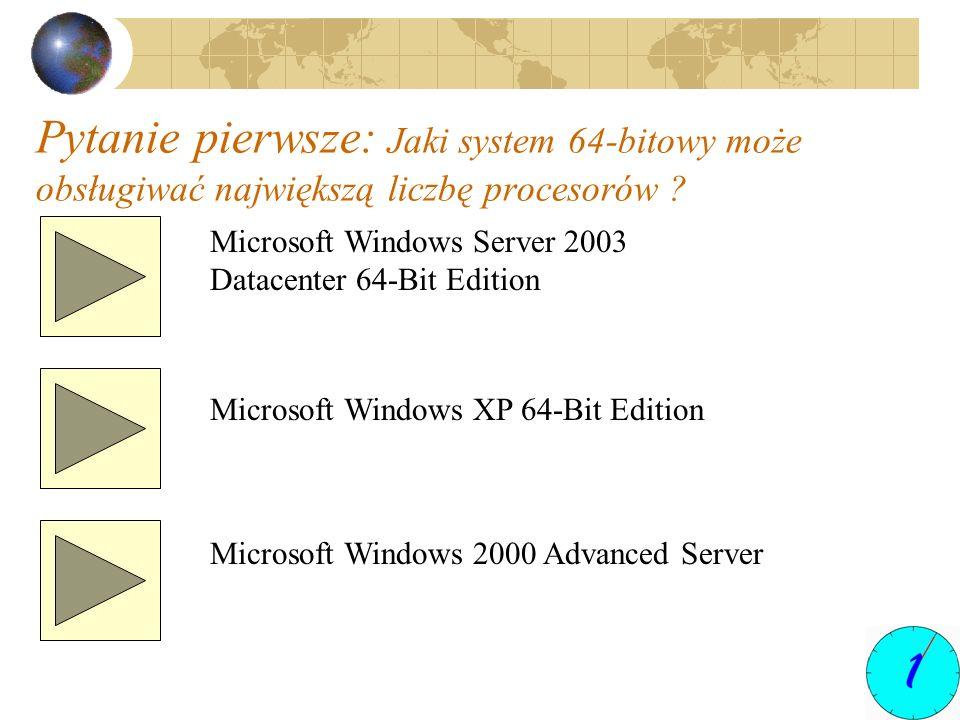 Pytanie pierwsze: Jaki system 64-bitowy może obsługiwać największą liczbę procesorów