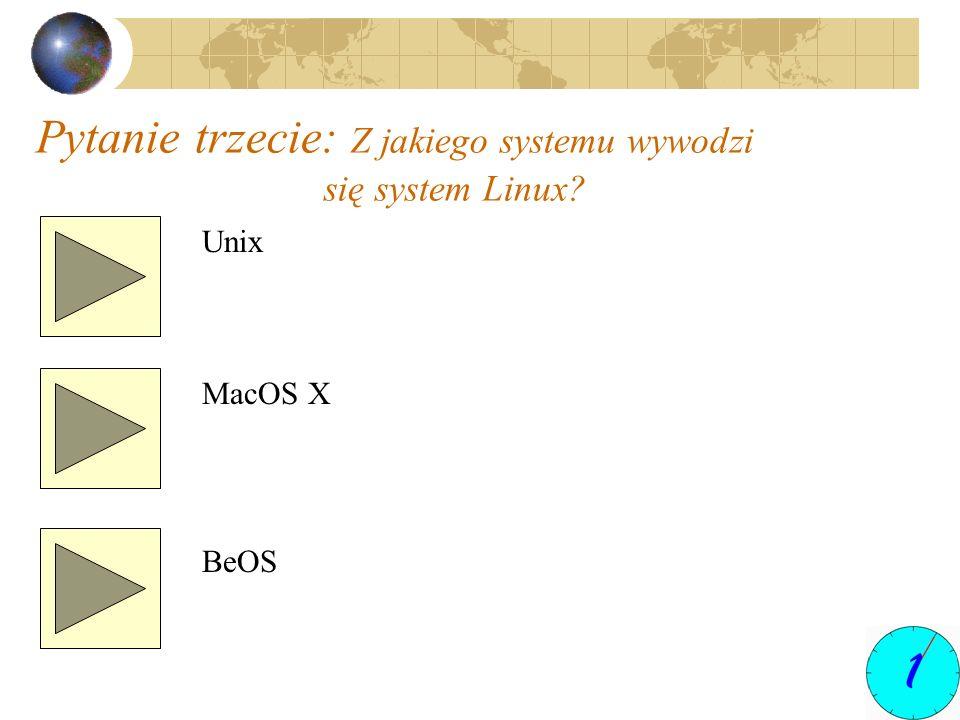 Pytanie trzecie: Z jakiego systemu wywodzi się system Linux