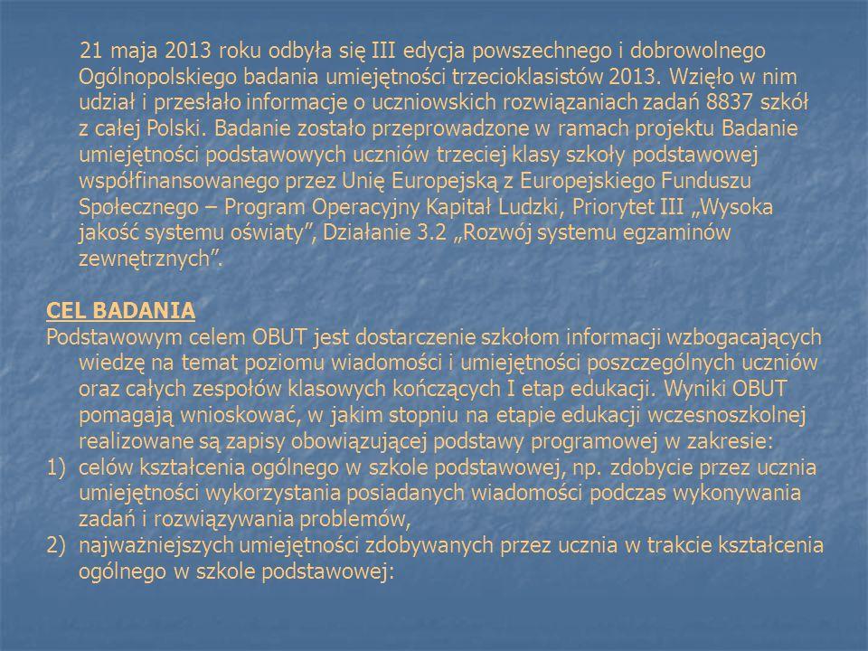 """21 maja 2013 roku odbyła się III edycja powszechnego i dobrowolnego Ogólnopolskiego badania umiejętności trzecioklasistów 2013. Wzięło w nim udział i przesłało informacje o uczniowskich rozwiązaniach zadań 8837 szkół z całej Polski. Badanie zostało przeprowadzone w ramach projektu Badanie umiejętności podstawowych uczniów trzeciej klasy szkoły podstawowej współfinansowanego przez Unię Europejską z Europejskiego Funduszu Społecznego – Program Operacyjny Kapitał Ludzki, Priorytet III """"Wysoka jakość systemu oświaty , Działanie 3.2 """"Rozwój systemu egzaminów zewnętrznych ."""