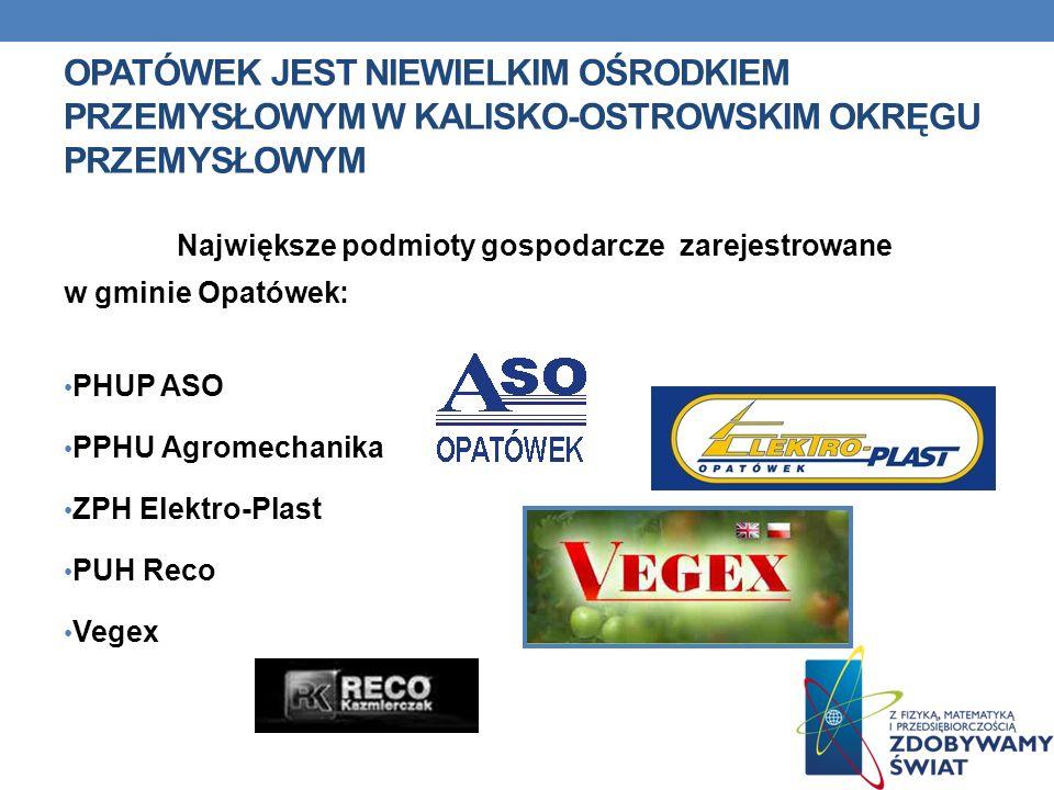 Opatówek jest niewielkim ośrodkiem przemysłowym w Kalisko-Ostrowskim Okręgu Przemysłowym