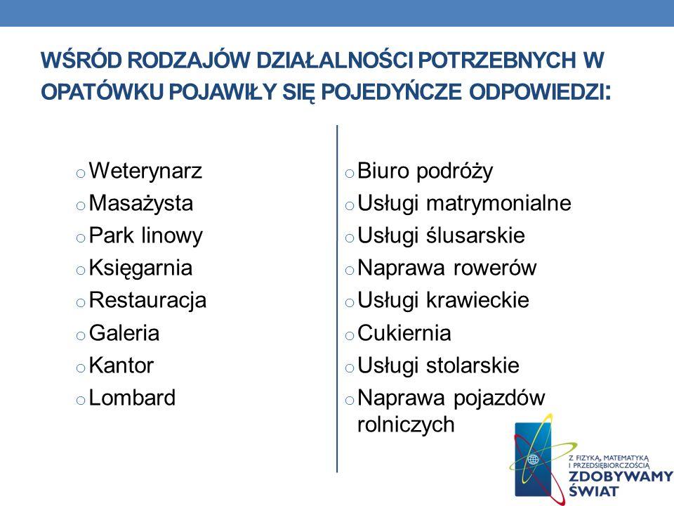 Wśród rodzajów działalności potrzebnych w Opatówku pojawiły się pojedyńcze odpowiedzi:
