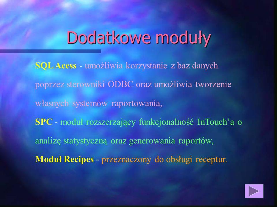 Dodatkowe modułySQL Acess - umożliwia korzystanie z baz danych poprzez sterowniki ODBC oraz umożliwia tworzenie własnych systemów raportowania,