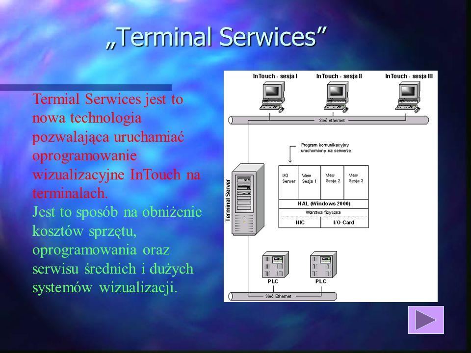"""""""Terminal Serwices Termial Serwices jest to nowa technologia pozwalająca uruchamiać oprogramowanie wizualizacyjne InTouch na terminalach."""