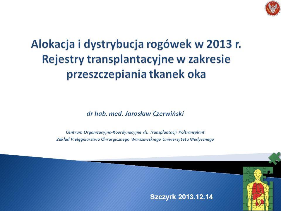 Alokacja i dystrybucja rogówek w 2013 r