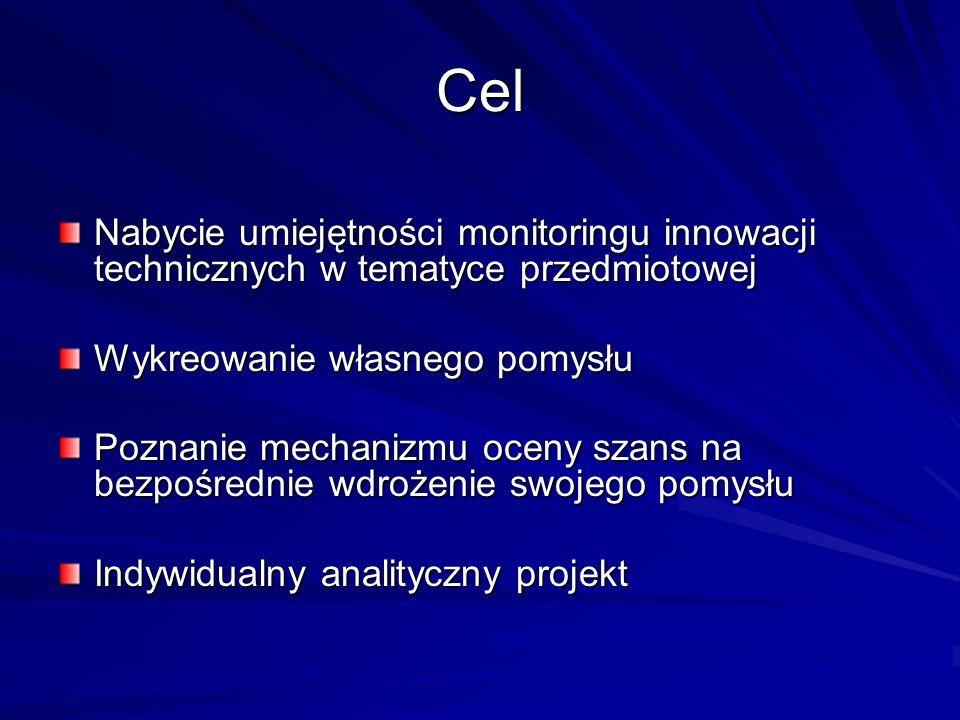 Cel Nabycie umiejętności monitoringu innowacji technicznych w tematyce przedmiotowej. Wykreowanie własnego pomysłu.