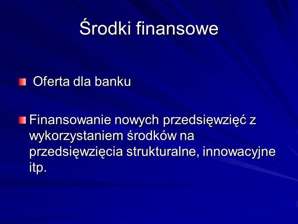 Środki finansowe Oferta dla banku
