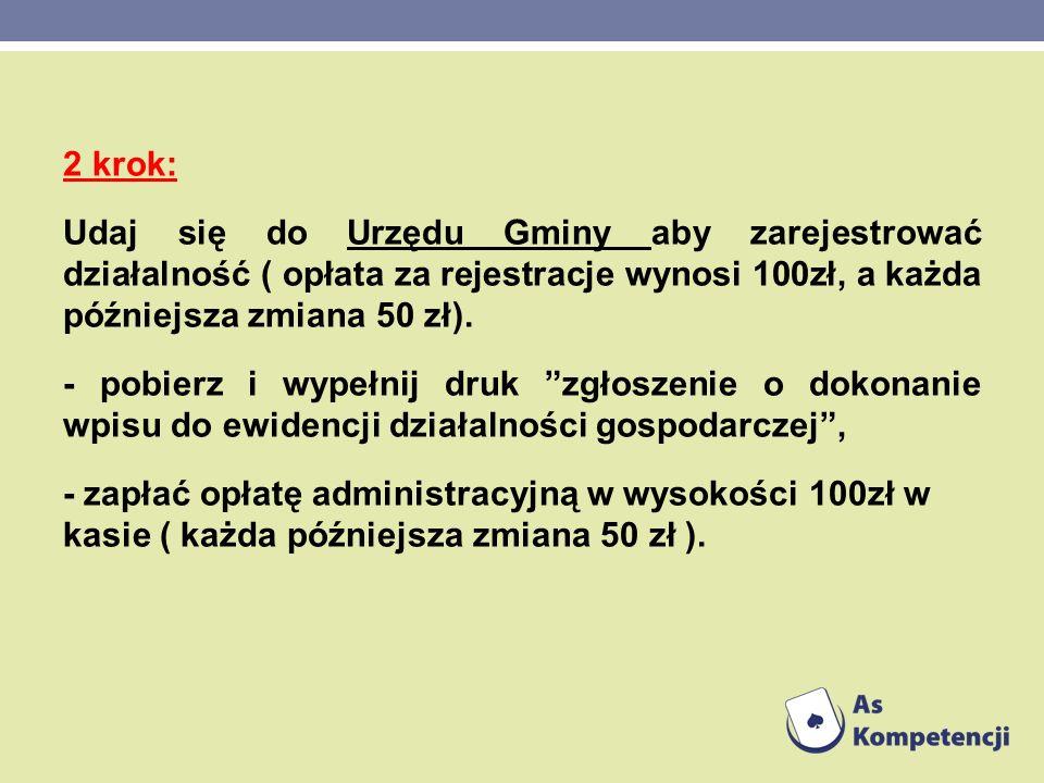 2 krok: Udaj się do Urzędu Gminy aby zarejestrować działalność ( opłata za rejestracje wynosi 100zł, a każda późniejsza zmiana 50 zł).