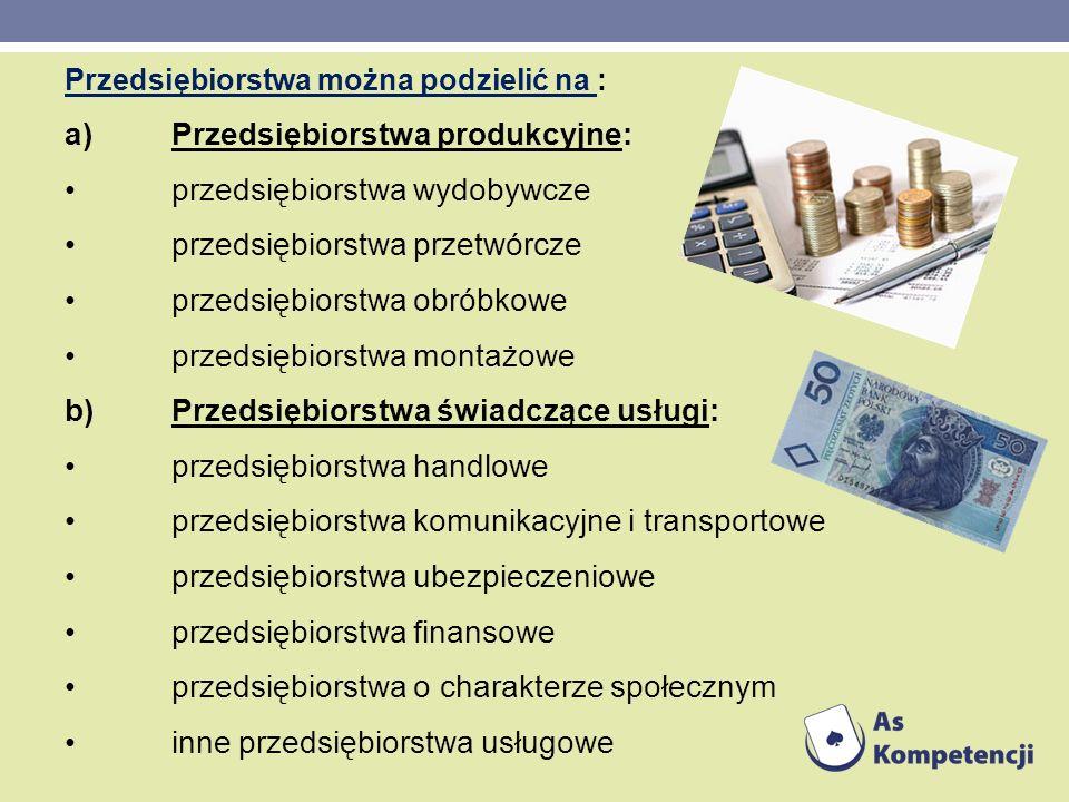 a) Przedsiębiorstwa produkcyjne: • przedsiębiorstwa wydobywcze