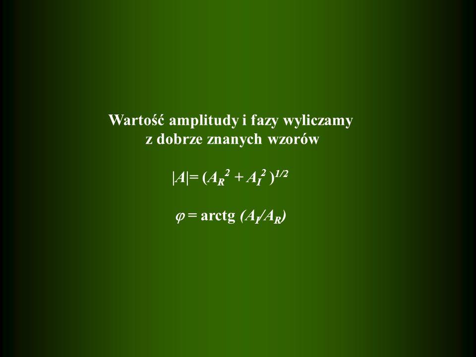 Wartość amplitudy i fazy wyliczamy z dobrze znanych wzorów