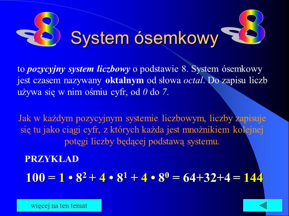 System ósemkowy 8 8 100 = 1 • 82 + 4 • 81 + 4 • 80 = 64+32+4 = 144