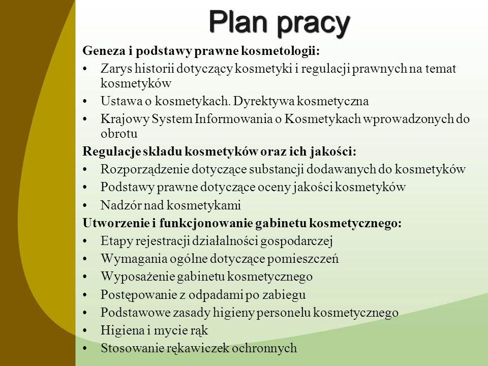 Plan pracy Geneza i podstawy prawne kosmetologii:
