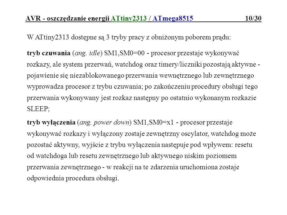 AVR - oszczędzanie energii ATtiny2313 / ATmega8515 10/30
