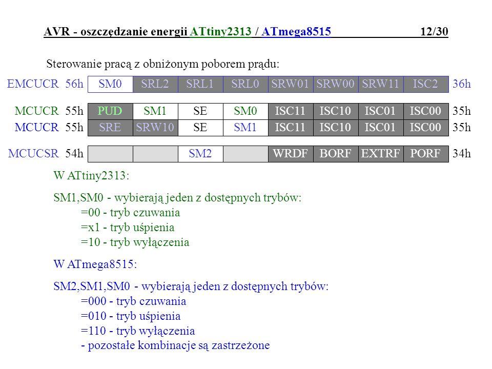 AVR - oszczędzanie energii ATtiny2313 / ATmega8515 12/30