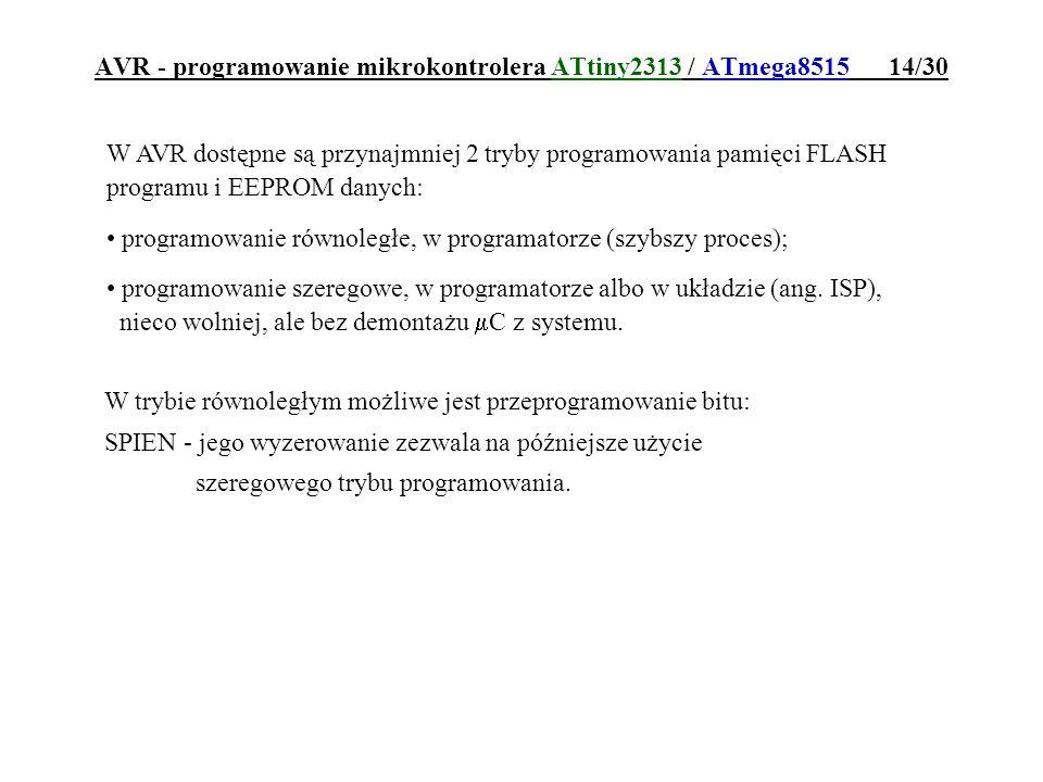 AVR - programowanie mikrokontrolera ATtiny2313 / ATmega8515 14/30