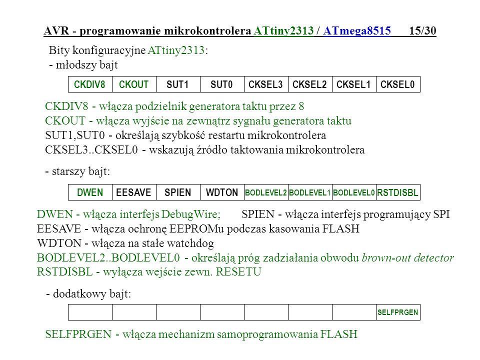 AVR - programowanie mikrokontrolera ATtiny2313 / ATmega8515 15/30
