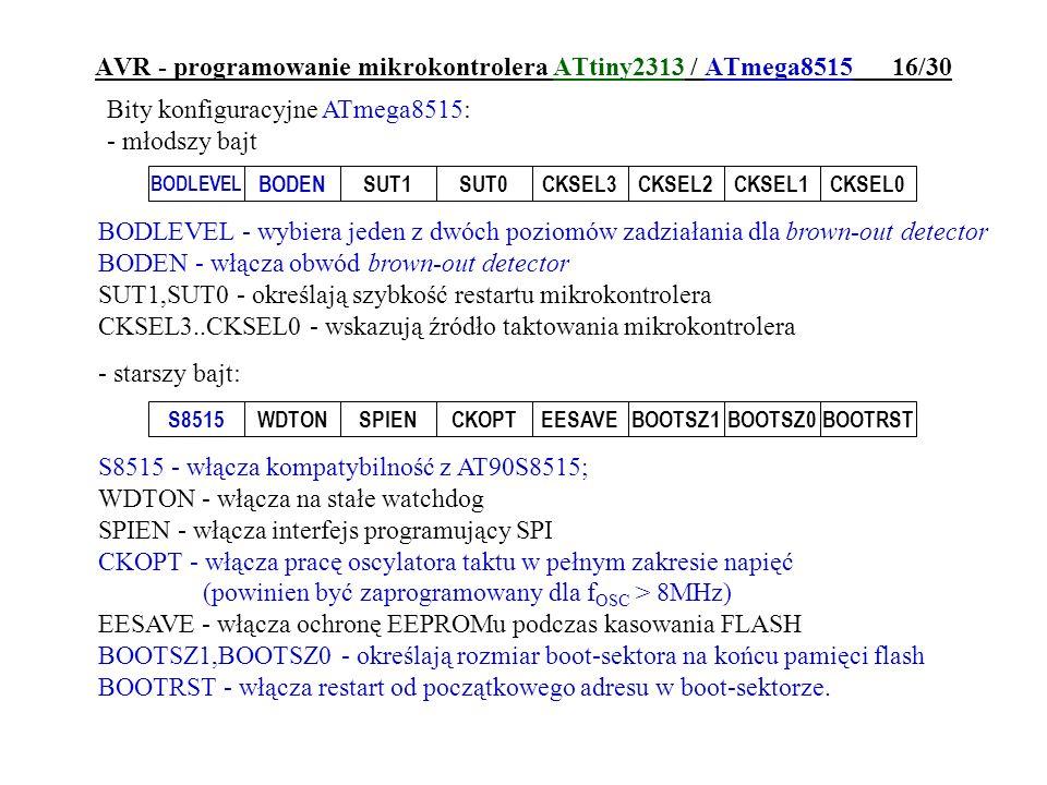 AVR - programowanie mikrokontrolera ATtiny2313 / ATmega8515 16/30