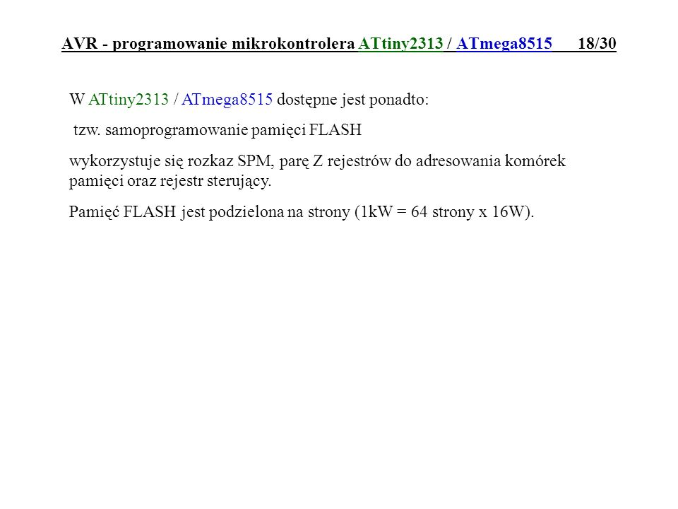 AVR - programowanie mikrokontrolera ATtiny2313 / ATmega8515 18/30