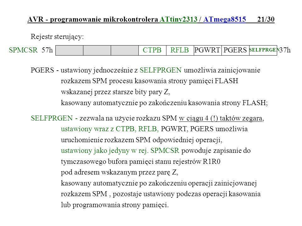 AVR - programowanie mikrokontrolera ATtiny2313 / ATmega8515 21/30