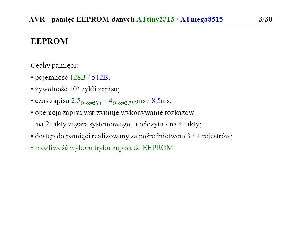 AVR - pamięć EEPROM danych ATtiny2313 / ATmega8515 3/30