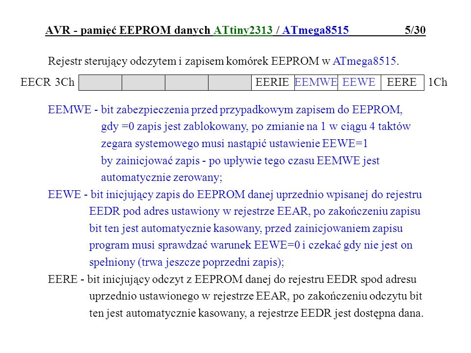 AVR - pamięć EEPROM danych ATtiny2313 / ATmega8515 5/30