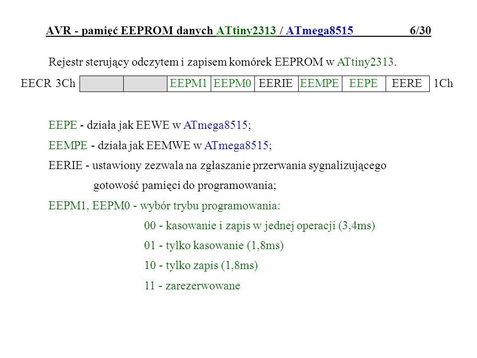 AVR - pamięć EEPROM danych ATtiny2313 / ATmega8515 6/30