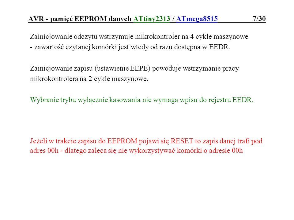 AVR - pamięć EEPROM danych ATtiny2313 / ATmega8515 7/30