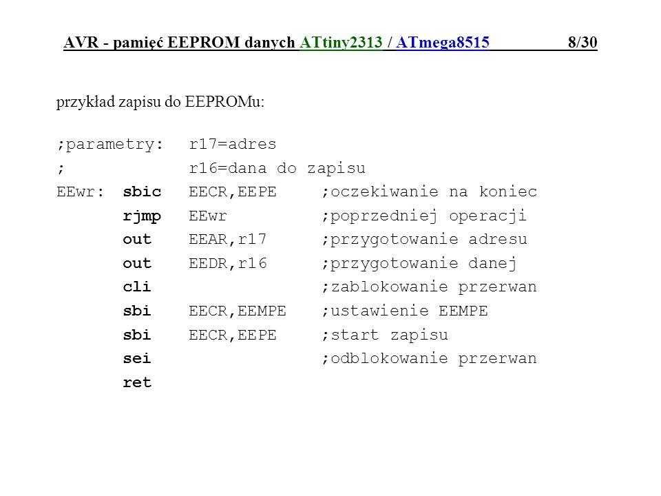 AVR - pamięć EEPROM danych ATtiny2313 / ATmega8515 8/30