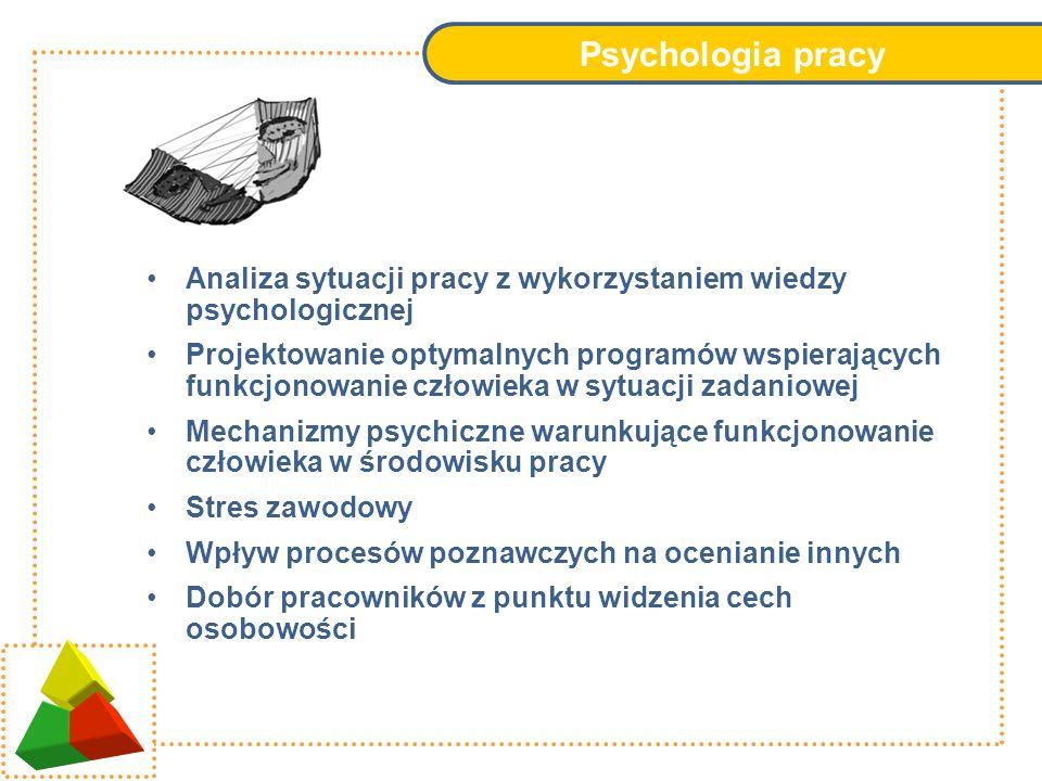 Psychologia pracy Analiza sytuacji pracy z wykorzystaniem wiedzy psychologicznej.