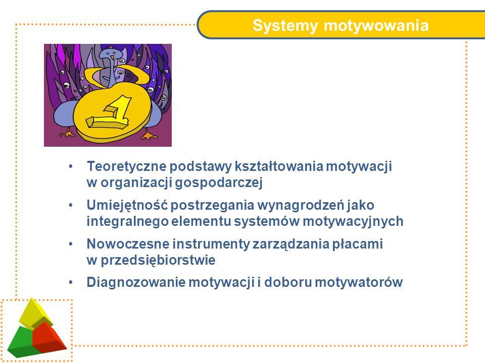 Systemy motywowania Teoretyczne podstawy kształtowania motywacji w organizacji gospodarczej.