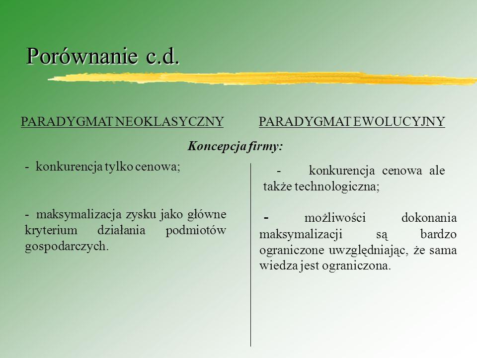 Porównanie c.d. PARADYGMAT NEOKLASYCZNY PARADYGMAT EWOLUCYJNY