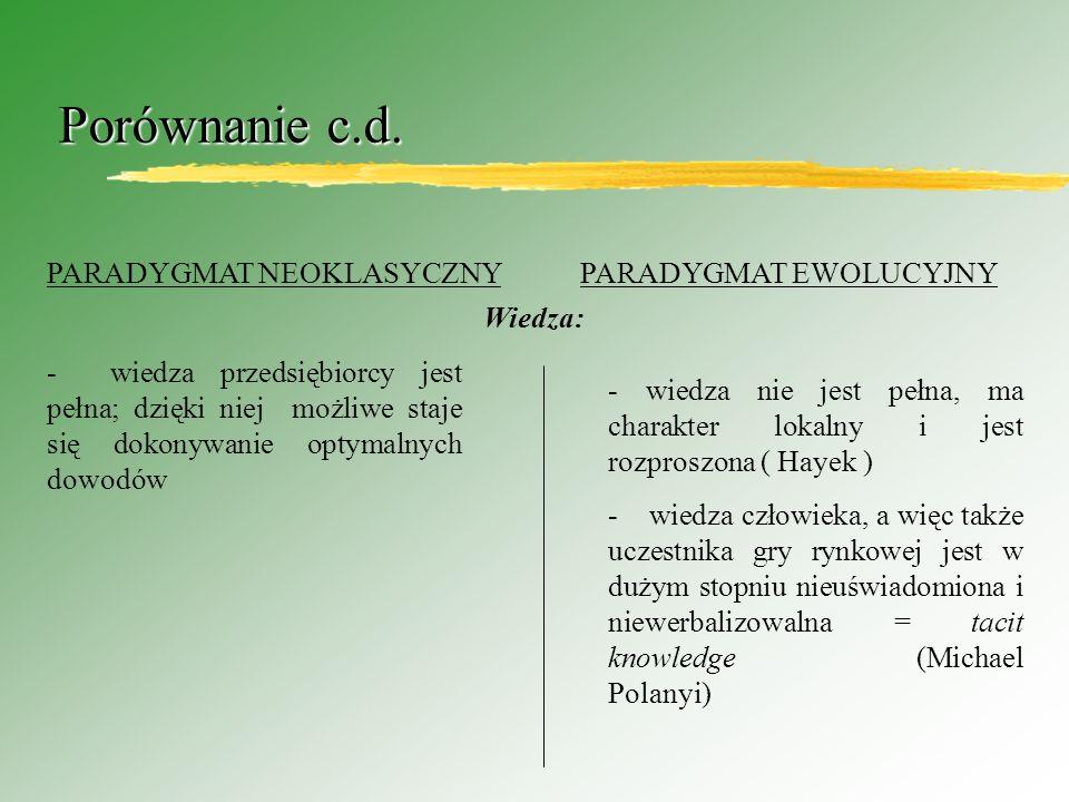 Porównanie c.d. PARADYGMAT NEOKLASYCZNY PARADYGMAT EWOLUCYJNY Wiedza: