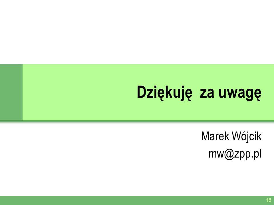 Dziękuję za uwagę Marek Wójcik mw@zpp.pl